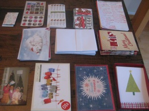 all the necessary pieces for doing up my holiday greetings - it's a major process!
