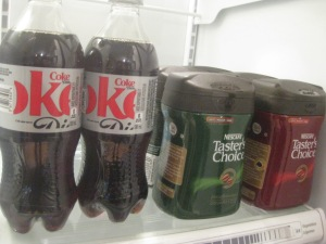 the fridge at home: old/new beverage beside new/replacement beverage of the last 11 months.