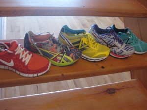 L to R: nike free; asics gel noosa; adidas boston; mizuno wave elixir 7; NB minimus 00