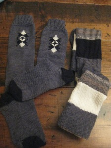 """sil ana had requested """"knee socks"""" for xmas so i made her (L) argyle knee sox and (R) over-the-knee striped sox!"""